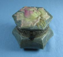 KELVA Art Glass Covered Box - Antique Wavecrest Jewelry Casket
