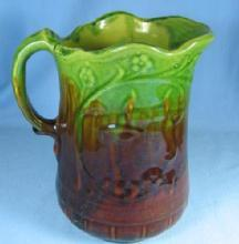 Large Yellow Ware Pitcher Antique Stoneware Pottery