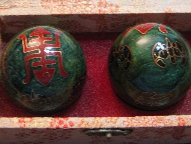 Oriental Cloisonne BAODING IRON BALL - Pair of balls for Health and Healing - metalware