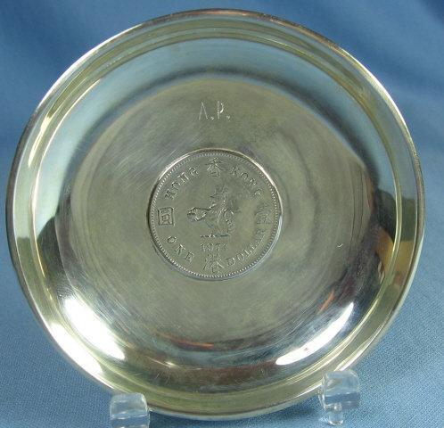 Hong Kong SILVER DOLLAR Dish - 1974 Coin