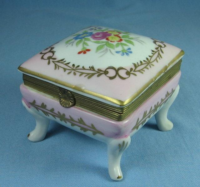 Hand Painted Dresden Porcelain Covered BOX - Jewelry or Trinket Hinged Lid Box