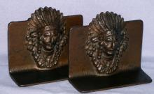 INDIAN CHIEF  Cast Iron Bookends - Metalware