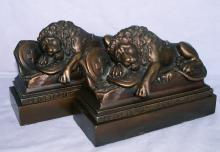 LION OF LUCERNE Cast Iron Bookends - Metalware
