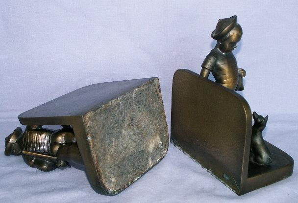 Frankart SAILOR BOY AND DOG Cast Metal Bookends - Metalware