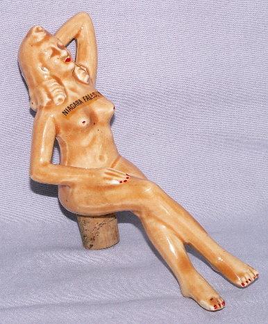 Nude Lady Niagara Falls Souvenir Porcelain Bottle Stopper