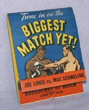 BUICK 1936 Joe Louis/Max Schneling Boxing Match Book of Matches - Advertising