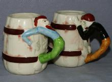 Two Occupied Japan  Cowboy Handled Porcelain Mugs