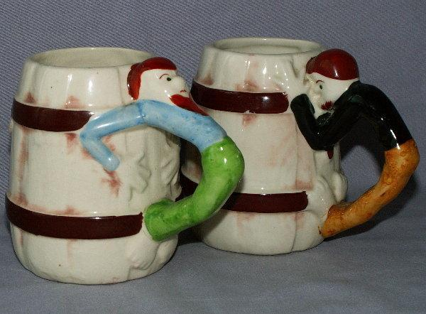 2 Occupied Japan  Cowboy Handled Porcelain Mugs