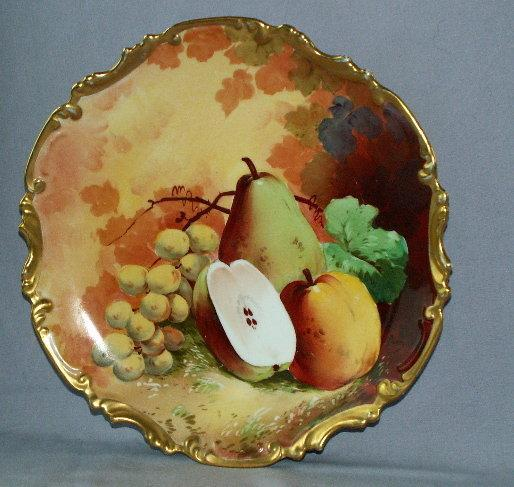 Artist Signed LIMOGES Porcelain Fruit Hanging Plate