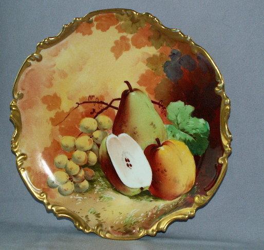 Artist Signed LIMOGES Porcelain Fruit Hanging Plate