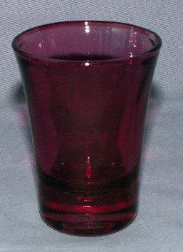 Six Cranberry Whiskey Glasses in Metal Carrier - Metalware