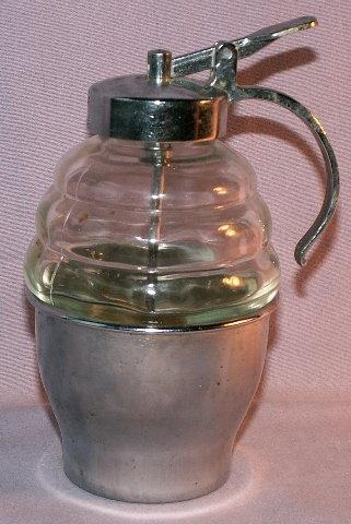 Unique Clear Glass and Metal SYRUP DISPENSER - Metalware