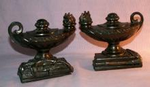 Cast Metal OIL LAMP Bookends - Metalware