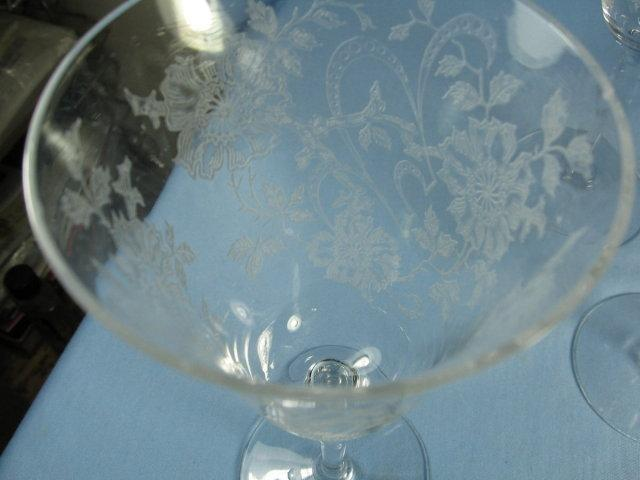 Elegant  Etched Glass STEMWARE Group - Four (4) WINE GLASSES