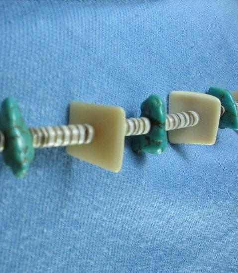 Turquoise & Mother of Pearl & Heishi Bead Necklace   - Vintage Ethnographic Jewelry