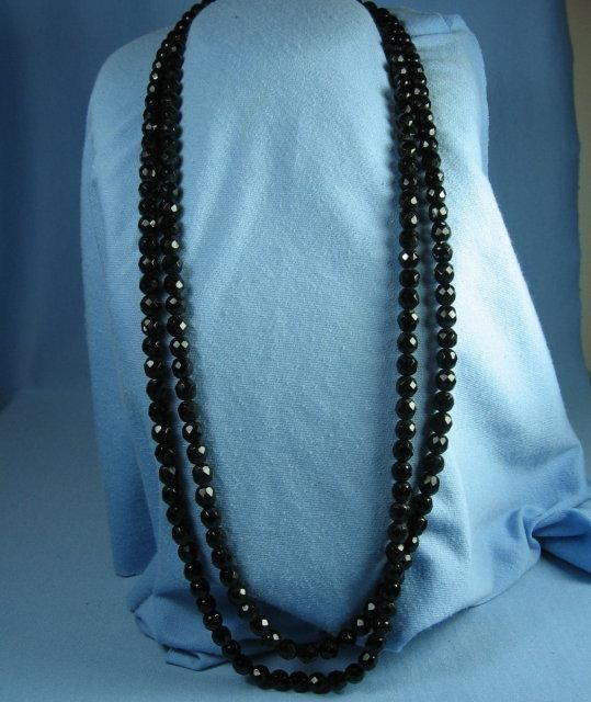 BLACK Faceted Crystal OPERA Length Necklace   - Vintage Jewelry