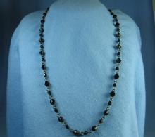 Faceted Jet Black & Chain Necklace   - Vintage Jewelry