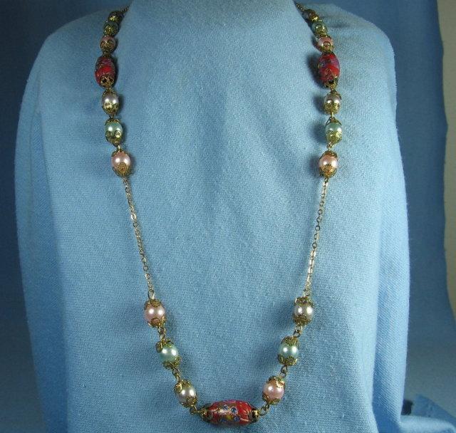 VENETIAN Handmade Glass Bead Necklace   - Vintage Jewelry