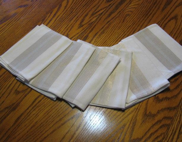 Antique Gold & Silver Thread Linen NAPKIN 6 pc Group - Vintage Textile