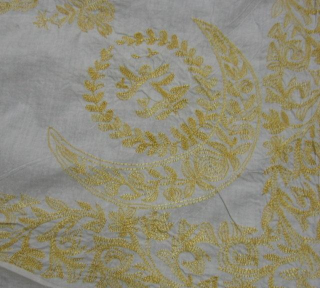 Fancy Gold Embroidered Needlepoint Linen Summer BEDCOVER or TABLECLOTH - Vintage Textile