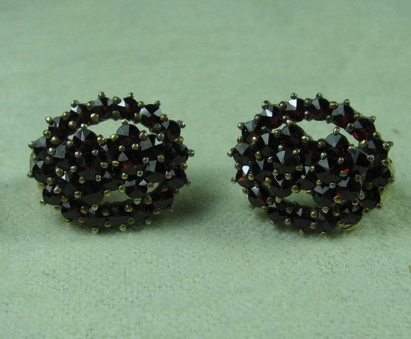 Bohemian GARNET Earrings  -  Antique Fine Jewelry