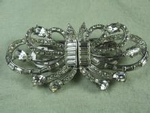 Coro Rhinestone DUETTE Brooch Clip   -  Antique Estate Designer Costume Jewelry