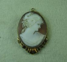 10k Conch Shell CAMEO LOCKET -  Antique  Fine Estate Jewelry