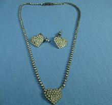 Rhinestone HEART Necklace & Earrings -  Antique  Estate Costume Jewelry