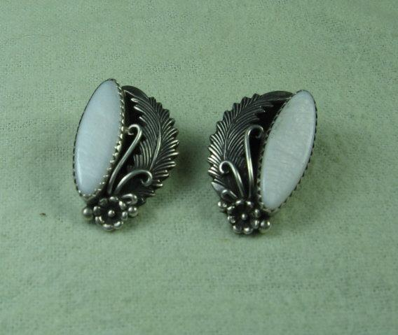 Navajo Indian Sterling Silver & MOP Earrings - Antique Ethnographic Jewelry
