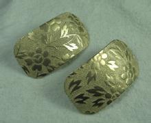 Huge EMBOSSED Goldtone EARRINGS  - Vintage Estate Jewelry