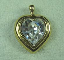Huge Rhinestone HEART  Pendant - Vintage Estate Jewelry