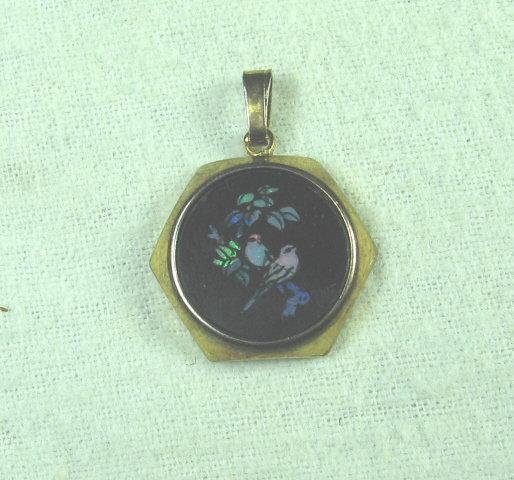 Black ONYX BIRD MOP Drop Pendant   - Vintage Estate Jewelry