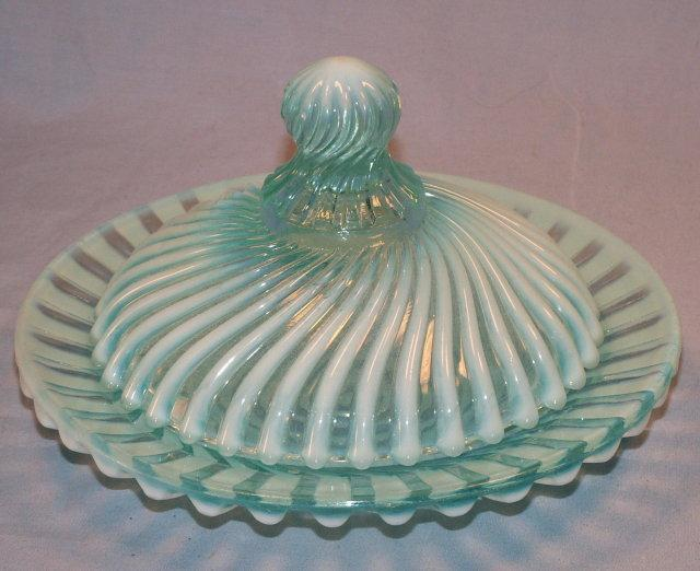 Turquoise OPALESCENT Swirl Design Glass Butter Dish