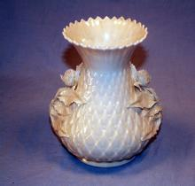 IRISH BELLEEK Porcelain Rose Decorated Vase