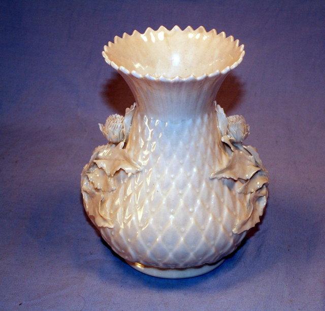 IRISH BELLEEK Porcelain Rose Decorated Vase