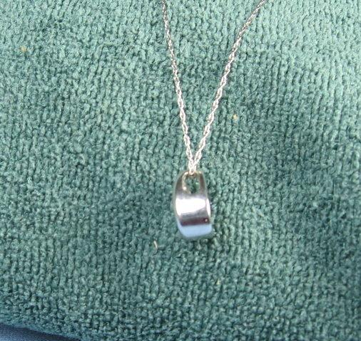 DIAMOND Pendant Necklace ~ 14K White Gold  .50 Diamond ~ Vintage Jewelry
