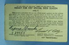 1957 Sporting Deer Permit License