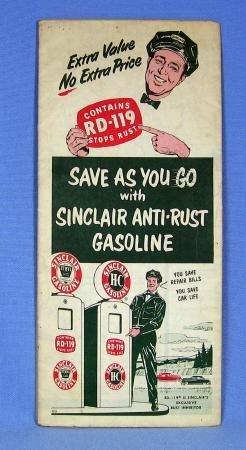 1950 Sinclair H-C Gasoline Illinois Map