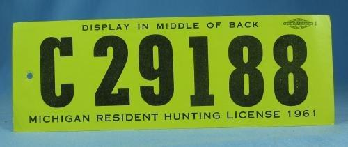 1961 Michigan Hunting License