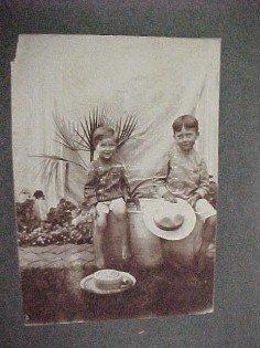 1890 Two Barefoot SMILING Boys with Hats  - Paper