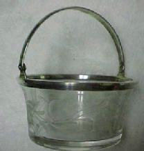 Sterling Handled Glass Basket - Glass