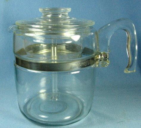 Pyrex Flameware 2-4 cup Coffee Pot Perculator #7754B - Vintage Glass Kitchen Cookware