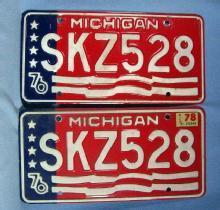 1976-78 Michigan Bicentennial PAIR - Used Automobile  misc