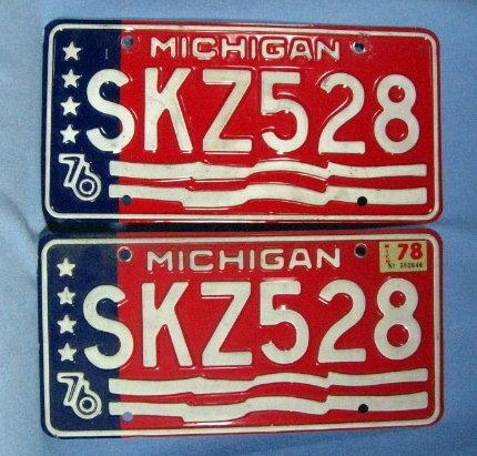 1976-78 Michigan Bicentennial PAIR - Used Automobile  misc