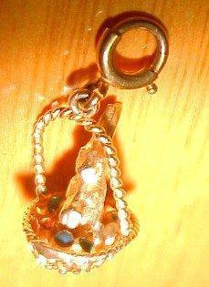 14K Bunny Easter Basket Charm Pendant  - Jewelry