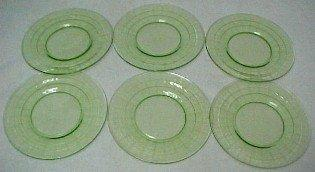 BLOCK OPTIC Green Depression Plates (6) - Glass