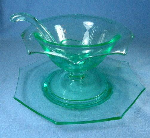 Vaseline Glass 3pc Condiment Mayo Set - Elegant Depression Glass