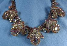 HOBE'  Multi Color RHINESTONE Necklace - Vintage Estate Costume Jewelry