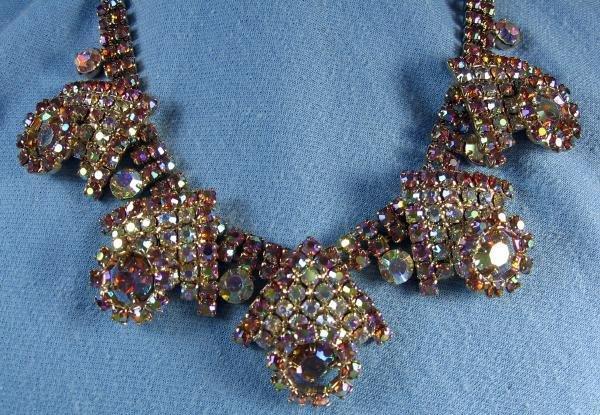 HOBE'  Multi Color RHINESTONE Necklace - Vintage Designer Costume Jewelry