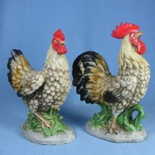 HOMCO Bisque Porcelain CHICKENS - Vintage Pair of Figurines
